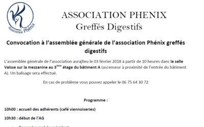 Convocation à l'assemblée générale de l'association le 3 février 2018