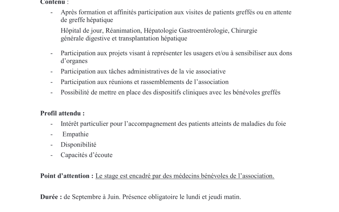 RECRUTEMENT : Proposition de stage Master 1 Psychologie