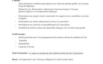 RECRUTEMENT : Proposition de stage Master 1 Psychologie