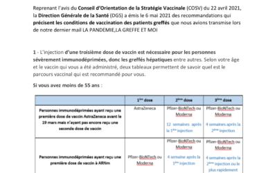 Vaccination contre la Covid-19 : Dernières recommandation